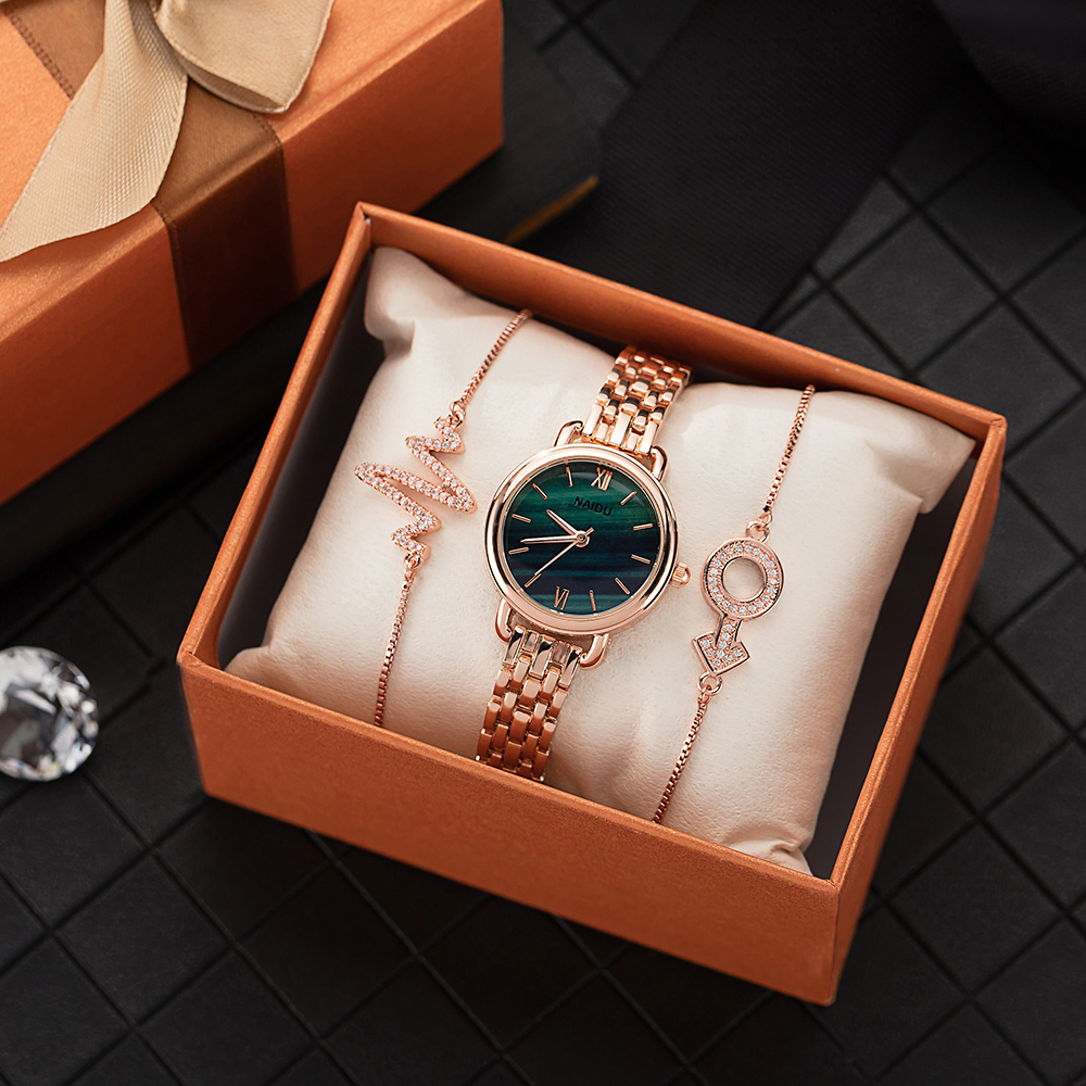 3 PCS Hot Watches Sets Women Alloy Popular Designer Watch Peacock Face Ladies Dress Wrist Watches With Jewelry Bracelet For Gift