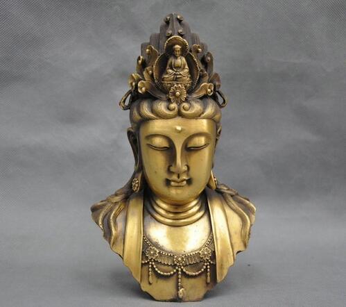 9 ''Chine kwan-yin Bouddha Guanyin Bodhisattva Buste Bronze Statue ds 11 china bronze gilded guanyin bodhisattva comfortable kwan yin buddha statue page 4