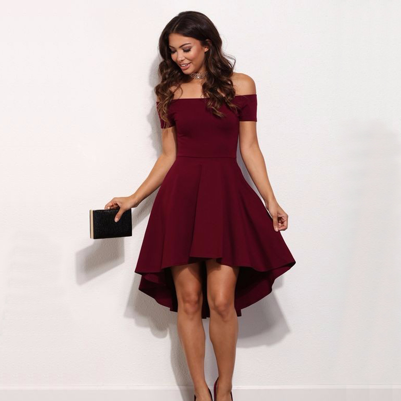 Vintage Midi Dresses 2018 Summer Women Burgundy Blue Princess Dresses Off The Shoulder Short Sleeves Knee-length A-Line Dre