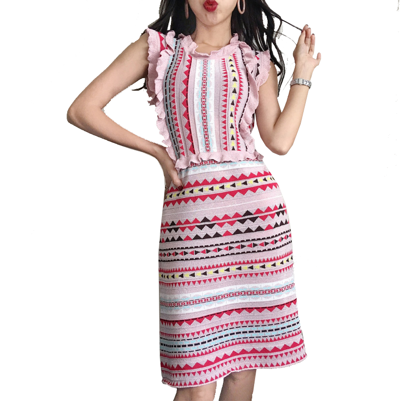 Sweet 3D Jacquard Bright Line Rainbow Striped Knit Dress Ruffles Sleeveless High Waist Fungus Tank Pleated A-line Party Dress