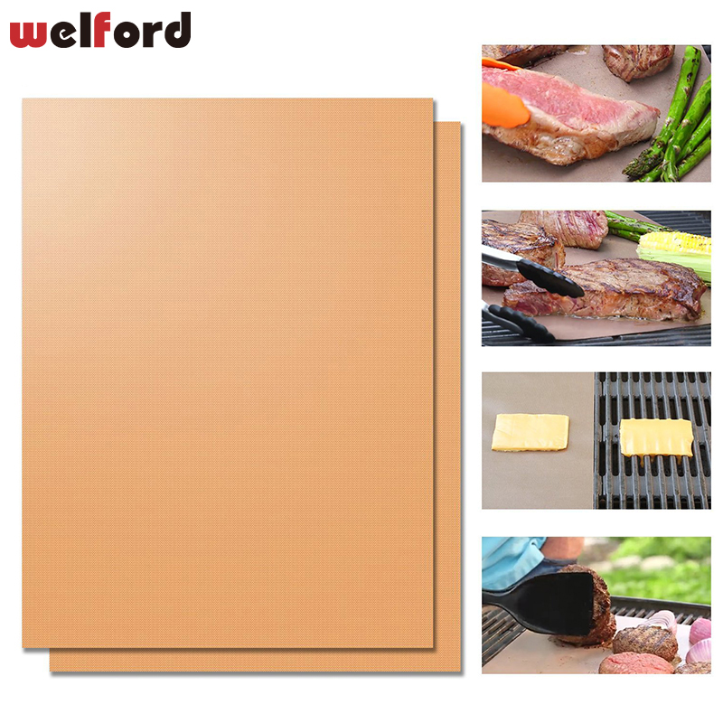 New Gold CopperHeat Resistant BBQ Grill Mat Copper Barbecue Roast Sheet Portable Easy Clean Grill Pad BBQ Tool Bakeware Mat