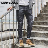 Denyblood Jeans Harem Pants For Men Distressed Jeans Ripped Black Stretch Denim Loose Fit Trousers 2017