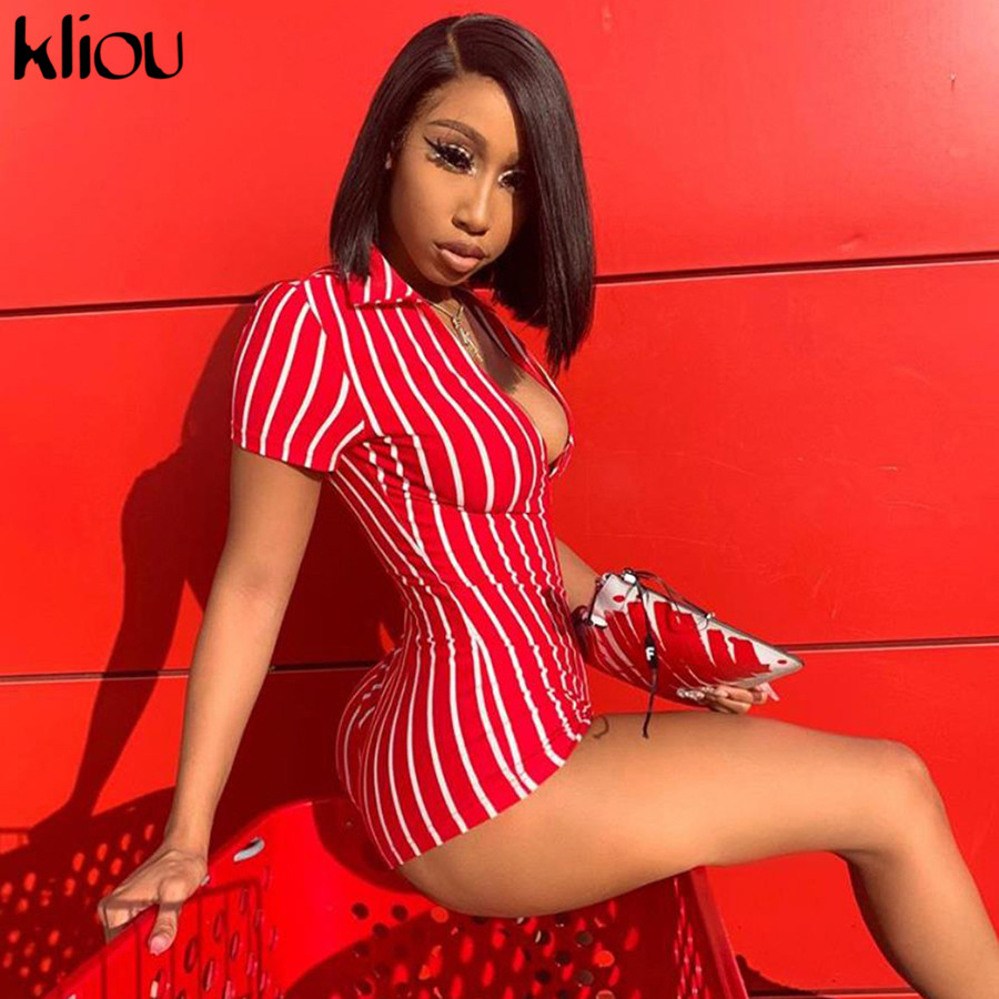 Kliou women sexy short playsuit red white striped short sleeve   rompers   2019 new female elastic skinny sexy party bodysuits
