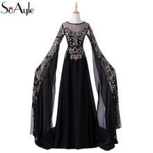 c0a8ecacfcd98 SoAyle 2018 A-Line Gold Lace Black Evening Dresses Oversize Sleeves Plus  Size Vestidos De