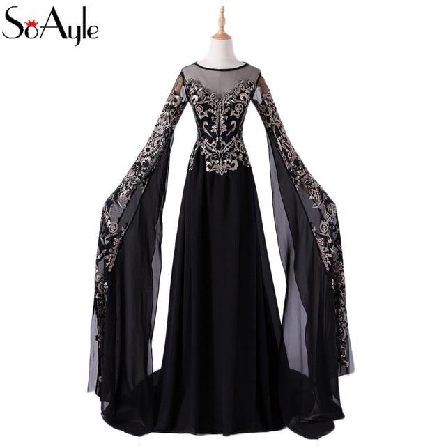 353626eb0cc0 SoAyle 2018 A-Line Gold Lace Black Evening Dresses Oversize Sleeves Plus  Size Vestidos De Festa Vintage Beading Formal Gowns