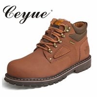 Ceyue Handmade Snow Boots Men 2017 Warm Fur Big Size 37 47 Ankel Boots Male New