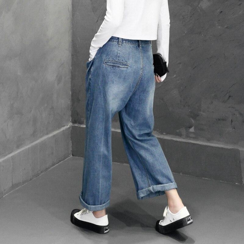 Deat Denim Large Femme Automne 2018 As Fond Picture Pantalon Pantalons Jeans Tenue Nouveau Laver Cru Femmes Boutons Wa95605 Mode Jambe Pour De rwrfACqx