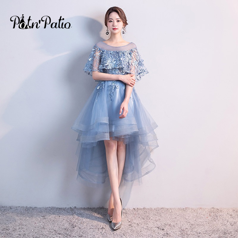 Elegant High Low Prom Dresses 2018 O-neck With Jacket Lace Tulle ...
