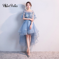 Elegant High Low Prom Dresses 2018 O neck With Jacket Lace Tulle Short Graduation Dresses Plus Size Special Occasion Dresses