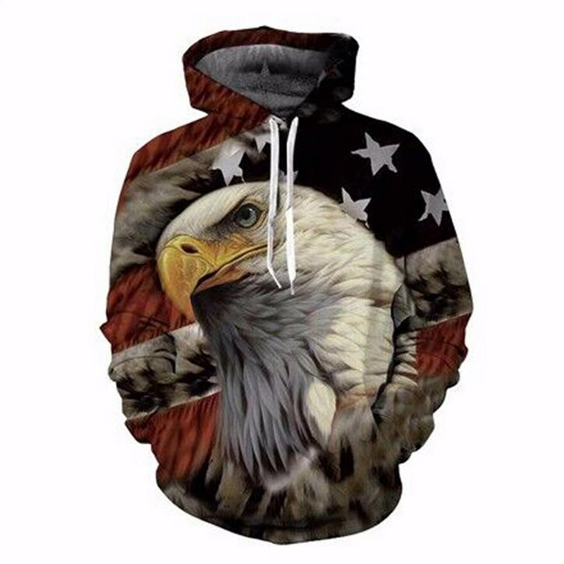 3D American Flag Eagle Printed Hoodies Sweatshirts 2017 Men Fashion Hooded Sweats Tops Hip Hop Unisex Graphic Pullover tracksuit