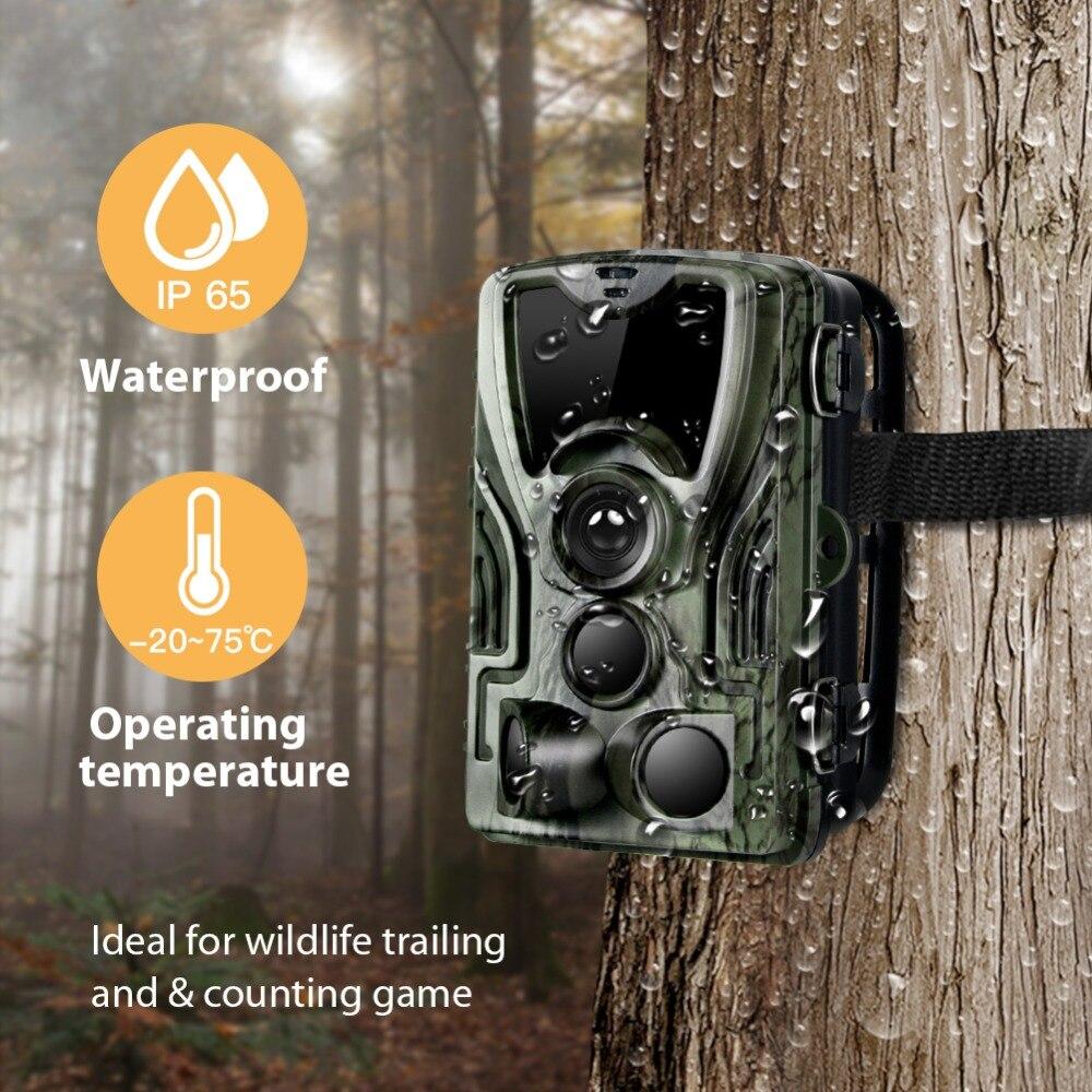 Caméra de chasse avec batterie au Lithium 5000 Mah 16MP HC801 1080 P IP65 étanche Photo pièges 0.3 s Surveillance sauvage - 6