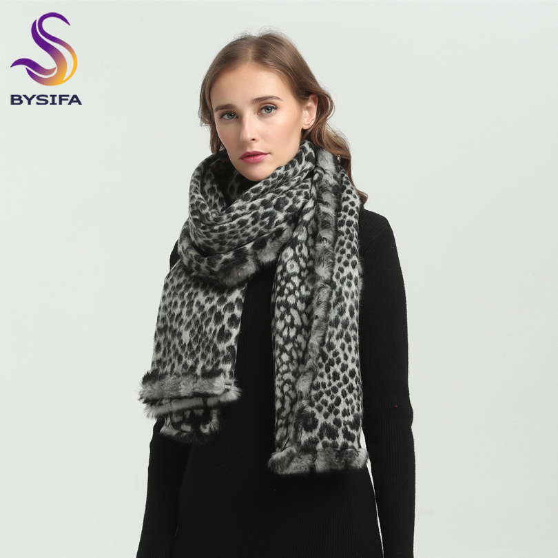 [BYSIFA] Winter Ladies Scarves Shawls 2018 Black White Leopard Print Women Long 100% Wool and 100%Rabbit Hair Scarves Pashimina