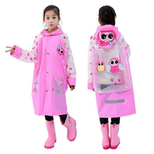 Children Cartoon Print Rainwear Inflatable Cap Siamese Raincoat for Child Waterproof Rain Coat owl,cow,boat,fruit YY001
