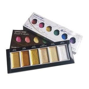 Image 3 - Zig Kuretake Pigment Gansai Tambi Aquarel Verf Starry/Pearl/Gem Kleuren Japanse Solid Pigment Voor Tekening Art Supplies