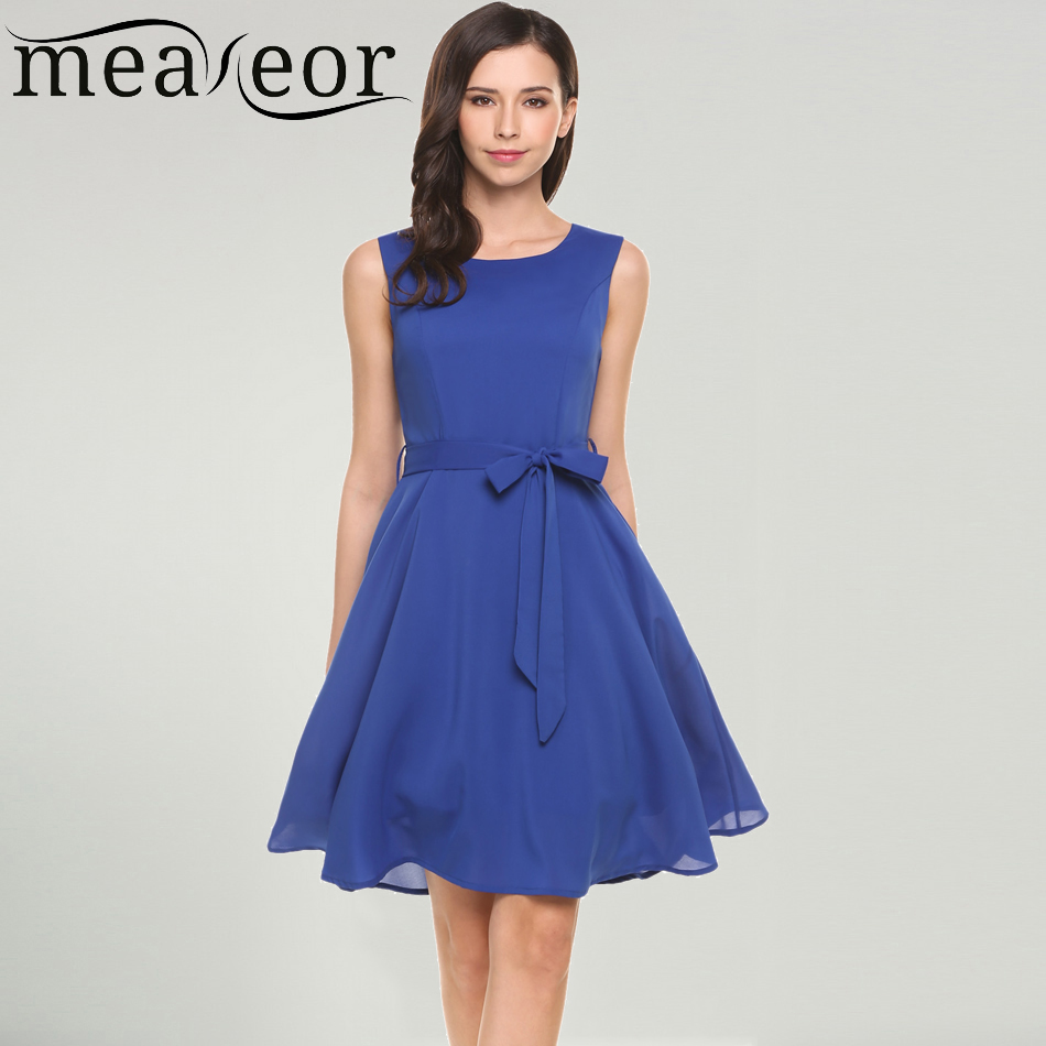 Meaneor Casual Women Sleeveless Solid Belted Cocktail Party Pleated Dress 2018 Spring Summer New Party Elegant Ladies Dresses