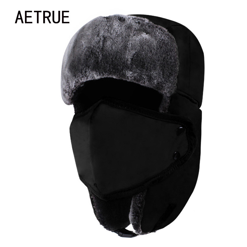 AETRUE Winter Women Bomber Hats Men Fur Warm Thickened Ear Flaps Winter Hats For Women Fashion Bomber Hat Earflap Caps New 2018