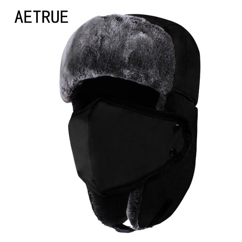 AETRUE Winter Women Bomber Hats Men Fur Warm Thickened Ear Flaps Winter Hats For Women Fashion Bomber Hat Earflap Caps New 2018