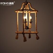 Lámpara colgante de cuerdas de cáñamo café restaurante americano retro personalidad salón bar arte hierro