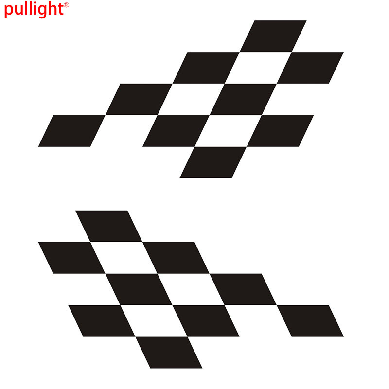 2x Large Chequered Vinyl Stickers Graphics Decals Stock Car Racing Sticker 2 pc hilux hilux chequered racing side stripe graphic vinyl sticker for toyota hilux decals