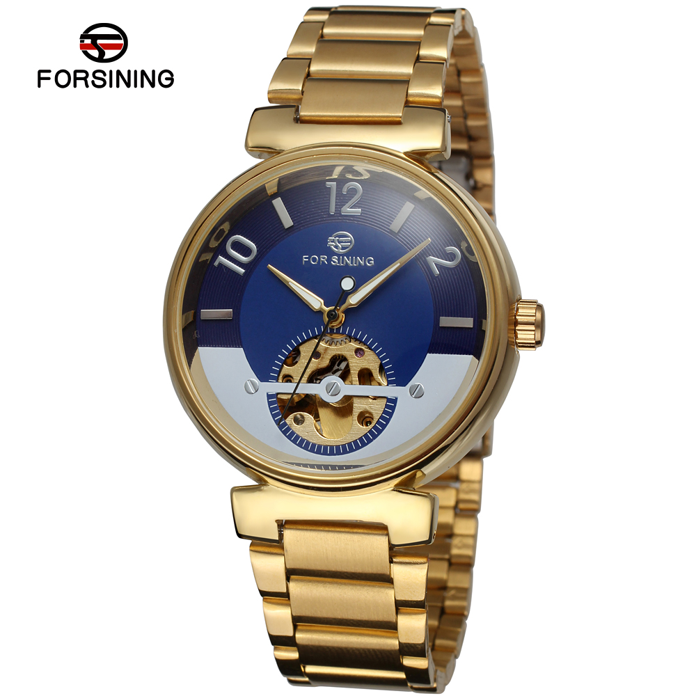 Arabic numerals dial wrist gold cuff watch gold chain band wrist watch men automatic mechanical wrist watches men s pu band analog mechanical wrist watch with gold dial brown