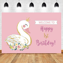 NeoBack 1st Birthday Backdrop Cisne Blanco Theme Photo Background Studio Pink Wall White Cute Swan Flower Photography Backdrops(China)