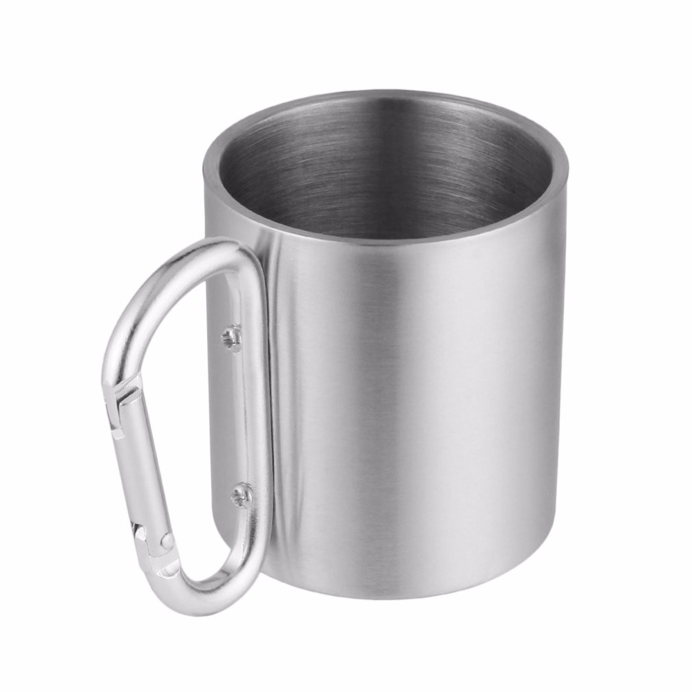 1PC 180ML Portable Stainless Steel Camping Cup Mug Traveling Carabiner Aluminium Hook Double Wall Tea Coffee Outdoor Hiking