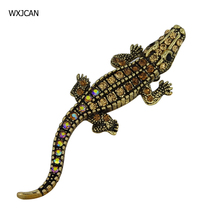 WXJCAN vivid large vintage brooches crocodile Luxury micro rhinestone brooch for men women Novelty Size 75mm*25mm