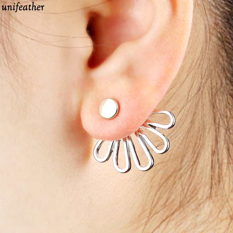 unifeather unifeather Store Trendy Gold Color Hollow Out lotus Leaf Stud Earrings Ear Cuff Clip For Women Jacket Piercing Earrings Jewelry 9174