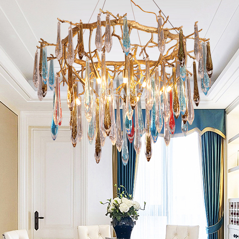 Brass Chandelier Lighting LED Copper Chandeliers Glass Chandelier Lamp Staircase Copper Hanging Light For Living Dining Room