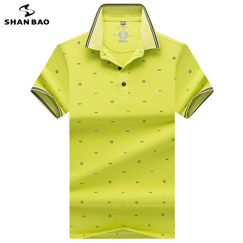 2019 summer new style printed lapels stripes men's business casual   polo   luxury high quality cotton short sleeve   Polo   shirt