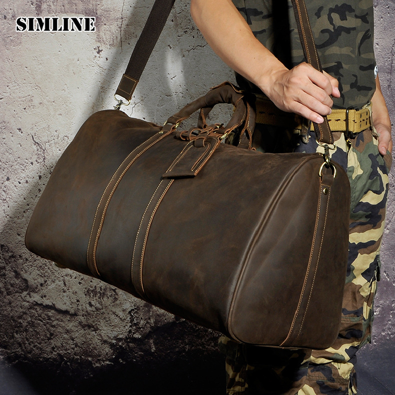 SIMLINE Vintage Genuine Crazy Horse Leather Cowhide Men Large Capacity Travel Duffle Bag Shoulder Luggage Bags Handbag For Men simline 2017 vintage genuine crazy horse leather cowhide men men s messenger bag small shoulder crossbody bags handbags for man