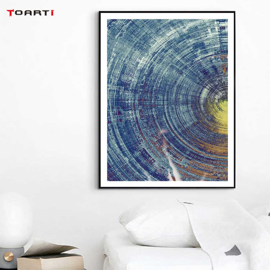 Image 5 - Abstract Blue And Yellow Circles Pattern Canvas Painting Modern Posters And Prints Wall Art Pictures For Living Room Home Decor-in Painting & Calligraphy from Home & Garden