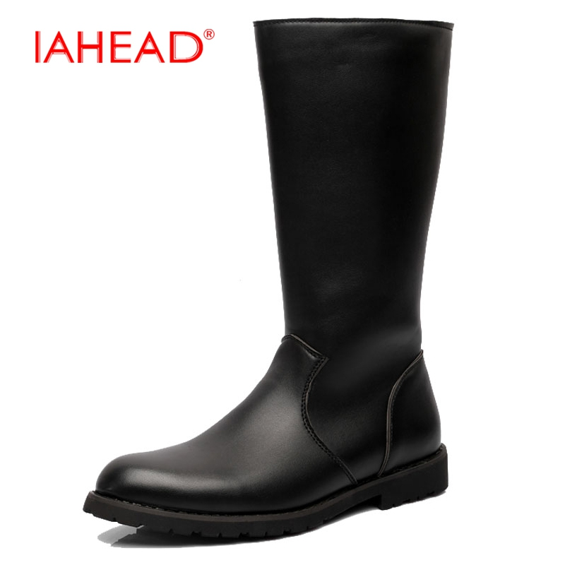 IAHEAD Men Boots Mens Knee High Boots Men Leather Casual Shoes Winter Boots Military Boots Dress Shoes botines hombre MH557