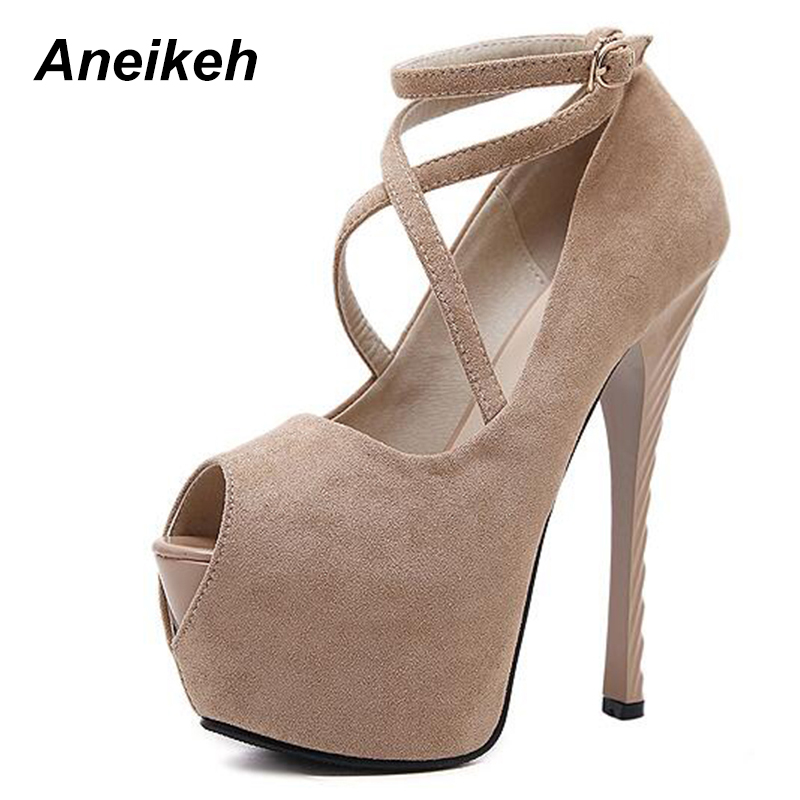 Aneikeh High quality Sexy High Heels Platform Shoes Pumps Women's Dress Fashion Wedding Shoes Peep Toe Lady Pumps Size 35-40 big size 40 41 42 women pumps 11 cm thin heels fashion beautiful pointy toe spell color sexy shoes discount sale free shipping