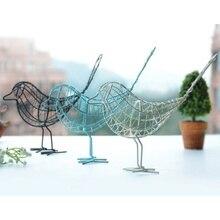 Садовые кованые украшения для птиц, подарок, ремесло из металла, проволока, железная птица, украшение для дома, гостиной, черный и белый, синий, Декор
