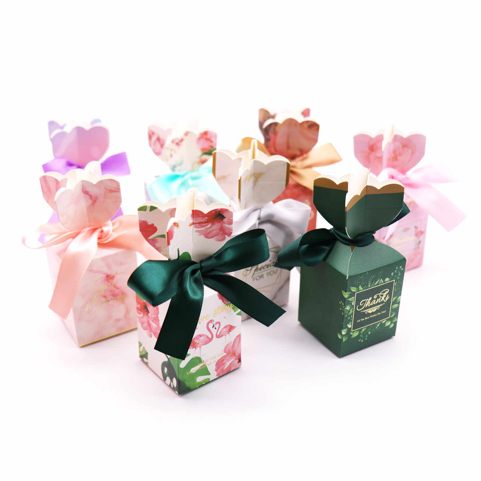 10//20//50Pcs Chocolate Cake Candy Boxes Gift Bag Wedding Favors Party Decoration