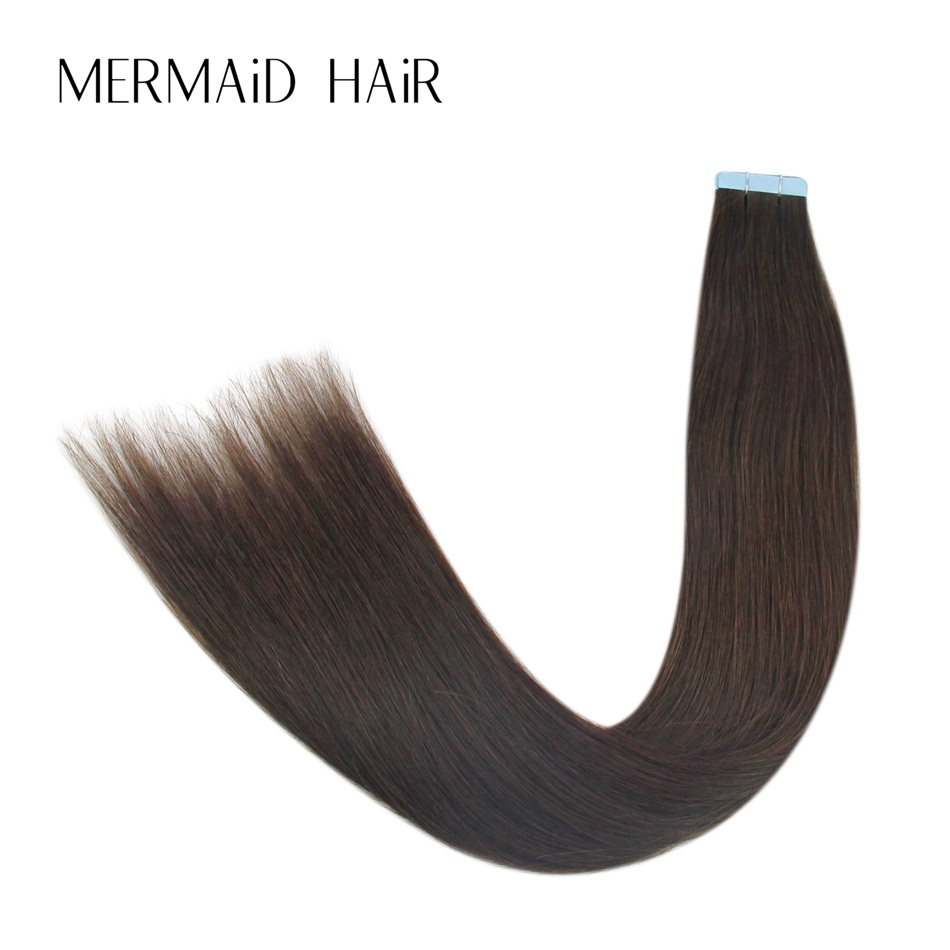 Mermaid 4# Double Drawn Tape In Human Hair 20pcs 16 18 20 Straight Remy Hair On Tape Sea ...