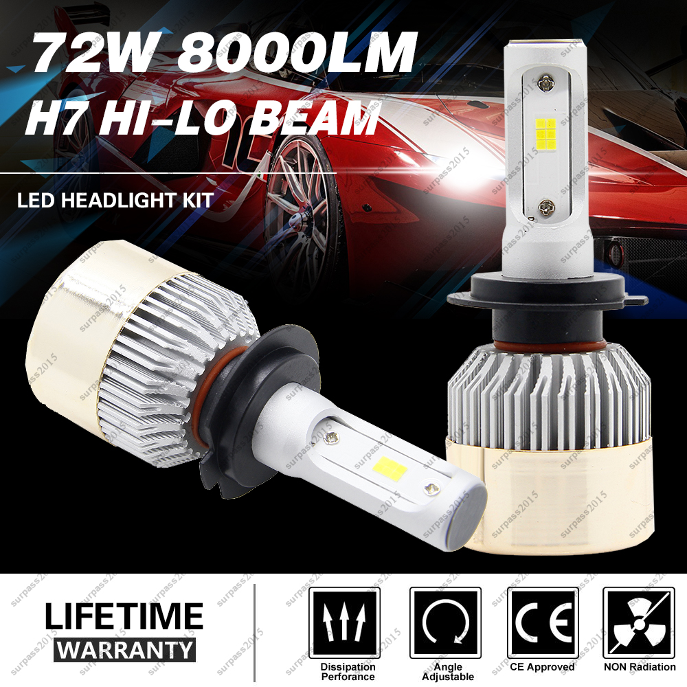 Car Headlight H7 COB LED Hi-Lo Beam 72W 8000LM 6500K Auto Headlamp 12V 24V Auto Bulb Headlamp h 7 2pcs set 72w 7200lm h7 cob led car headlight headlamp auto lamps led kit 6000k headlight bulb light car headlight fog light