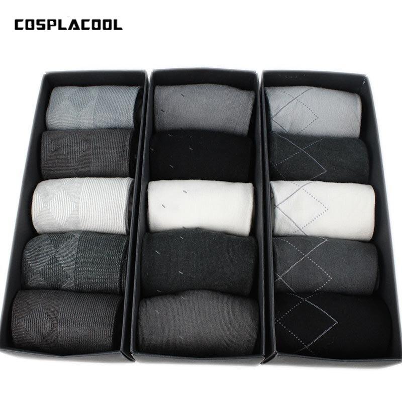 [COSPLACOOL]Warm 5 Pairs/Box High-end Business Stripe Men Socks Short Brand Meias Elastic Deodorize Breathable Casual Sokken