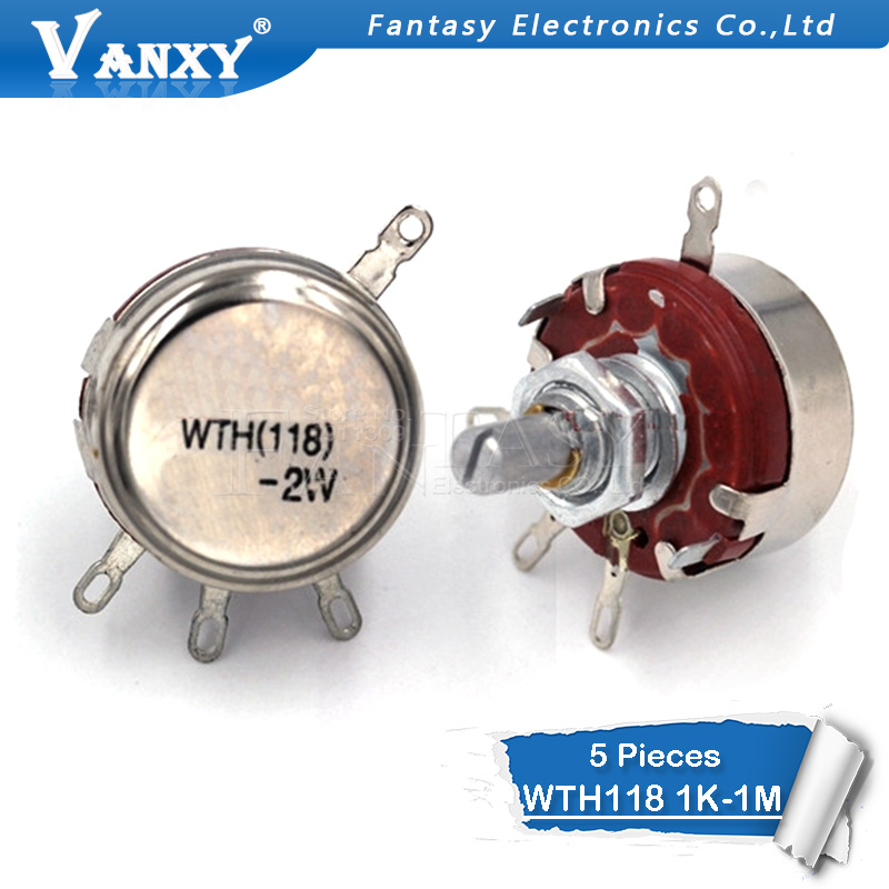 5PCS WTH118 2W 1A Potentiometer 1K 2.2K 4.7K 10K 22K 47K 100K 470K 1M WTH118-2W Round Shaft Carbon Rotary Taper Potentiometer
