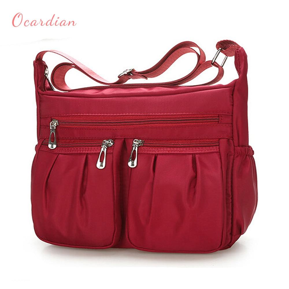 Ocardian frauen Fashion Solid Farbe Zipper Wasserdichtem Nylon Schulter Tasche Bolsas Tasche dropship sofort lieferung EINE 30
