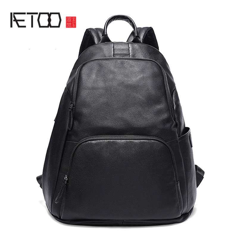 AETOO New men's leather shoulder bag one generation casual first layer cowhide large capacity backpack black