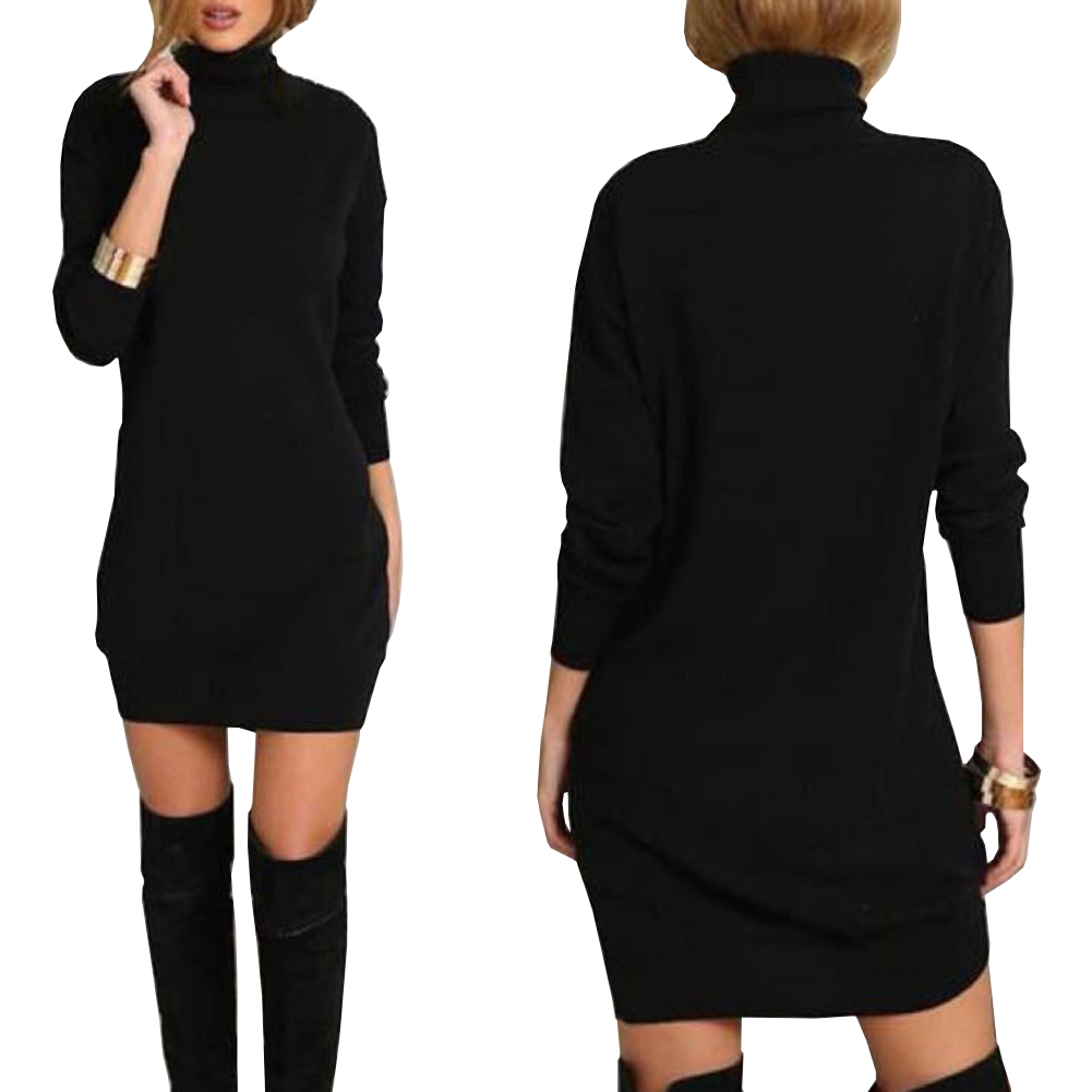 Giraffita Slim Black Dress Nightclub Party Fashion Solid Dresses Women Sexy High-Necked Long Sleeve Punk Gothic Dress