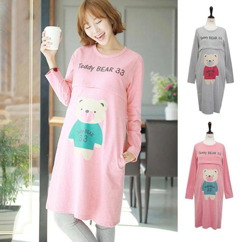 Women Casual Style Maternity Spring Dress Pregnant Cotton Warm Winter homewear For Pajamas women casual Cute