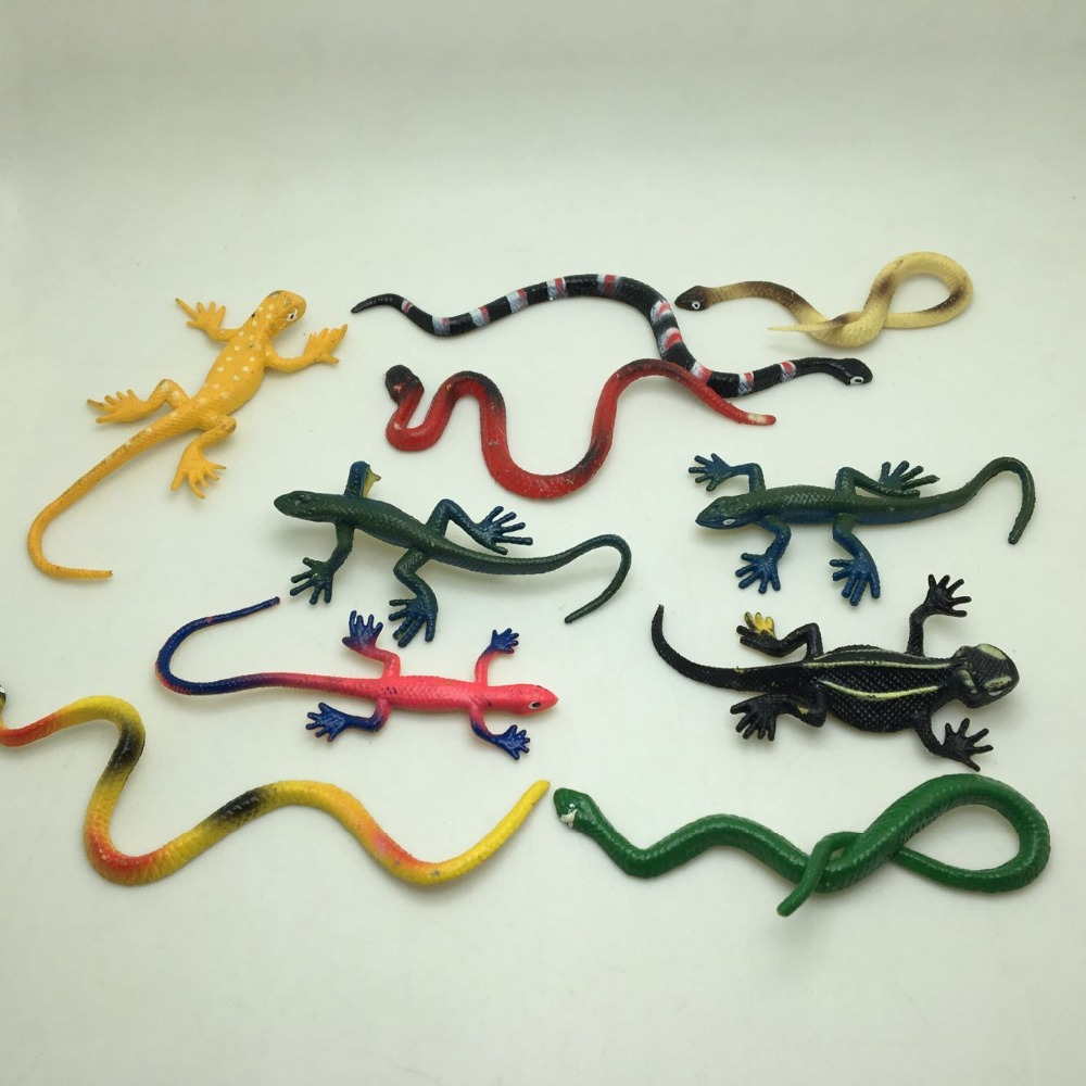 20PCS/LOT Cute Pvc Plastic Snake & Gecko Mix Funny Joke Practical Gifts Toys For Children