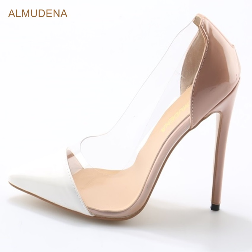 ALMUDENA Sexy Banquet High Heel Shoes Stiletto Heels Nude White Color  Patchwork Dress Pumps Transparent PVC 13d5354e4616