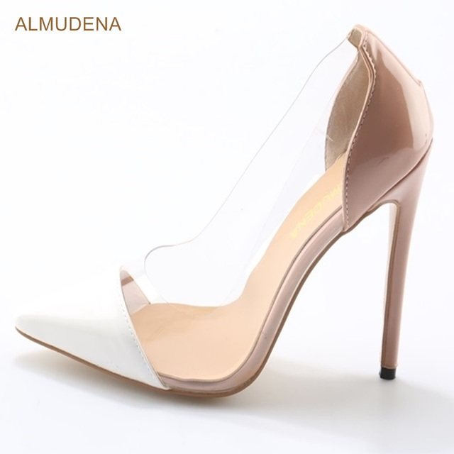 ALMUDENA Sexy Banquet High Heel Shoes Stiletto Heels Nude White Color Patchwork Dress Pumps Transparent PVC Pointed Toe Shoes