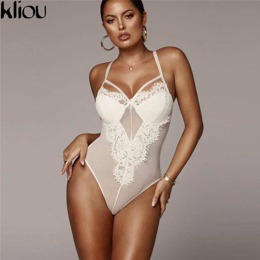 Kliou Women Sexy Lace Mesh Patchwork Bodysuits 2018 New Arrival Strapless Sexy Lace V-neck Backless Female Rompers Bodysuits