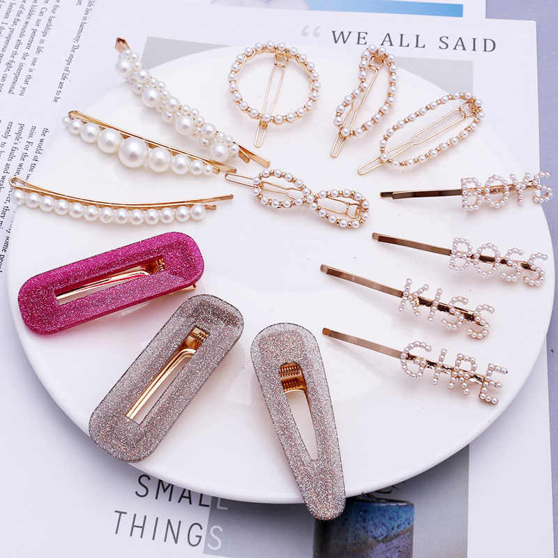 TS107 Wedding Jewelry Korea Pearl Barrettes for Women Ladies Elegant Jewelry Hairgrips Valentine Day Hair Pins Hair Accessories