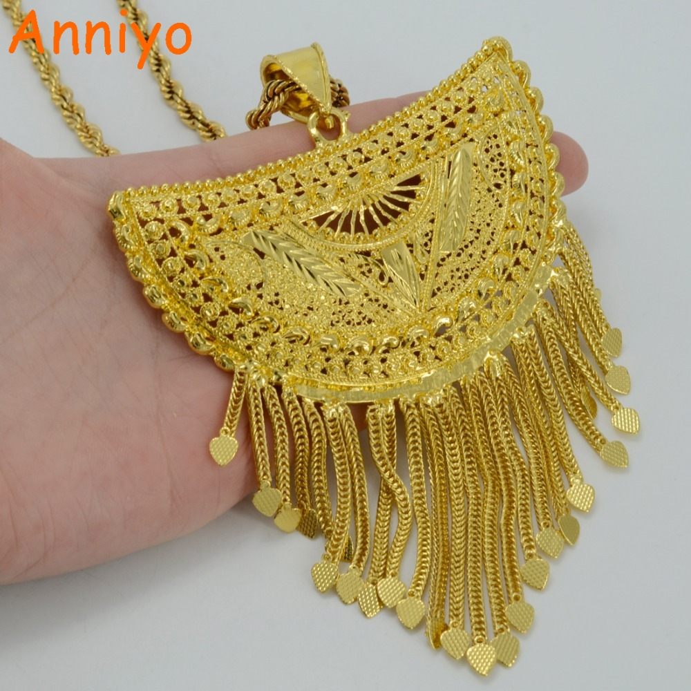 Anniyo Very Big Africa Pendant Necklaces for Women Gold Color Ethiopian Nigeria Congo Sudan Ghana Arab